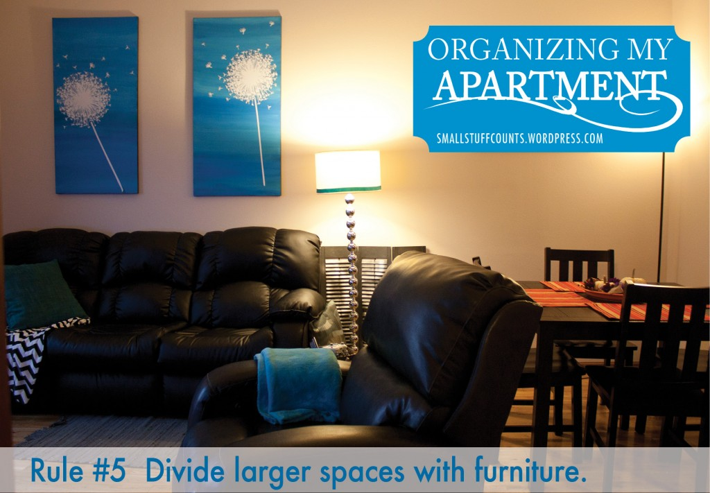 Helpful tips for organizing a small apartment via The Small Stuff Counts Blog