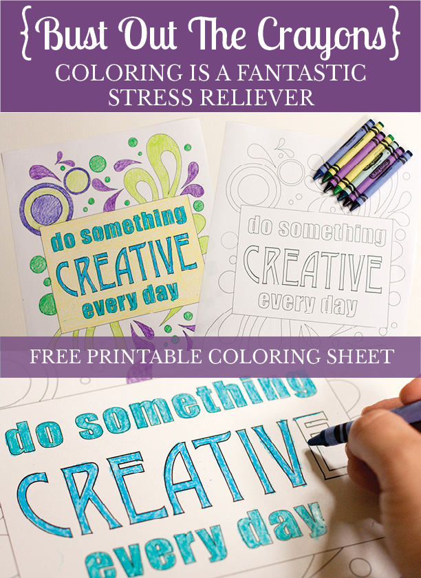 Coloring is a fantastic stress reliever for adults! Download this free coloring sheet.