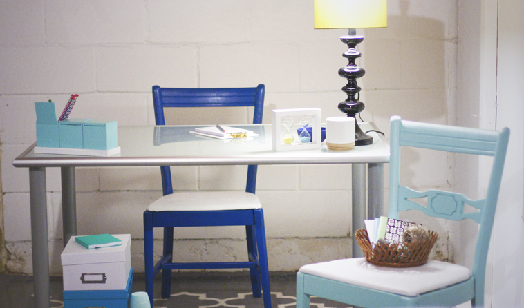 These blue chairs add pretty color to this office