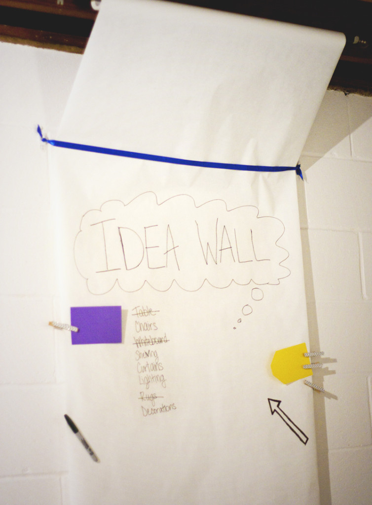 Craft room inspiration: giant brainstorming and planning wall