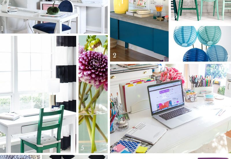 What a fun mood board! A neutral craft studio with pops of jewel toned colors