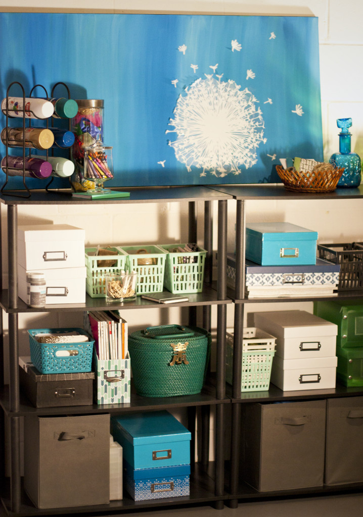 Organize your craft supplies in shoe boxes with open shelving. Easy to see what you have with a quick glance!