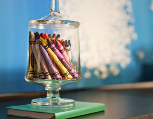 Fun way to display crayons in a glass jar