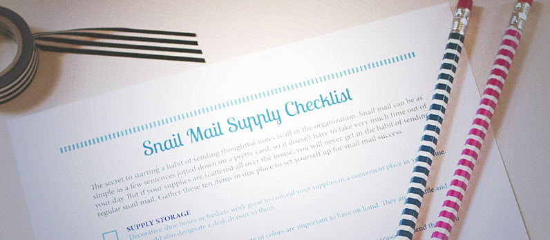 Download a free printable snail mail supply checklist