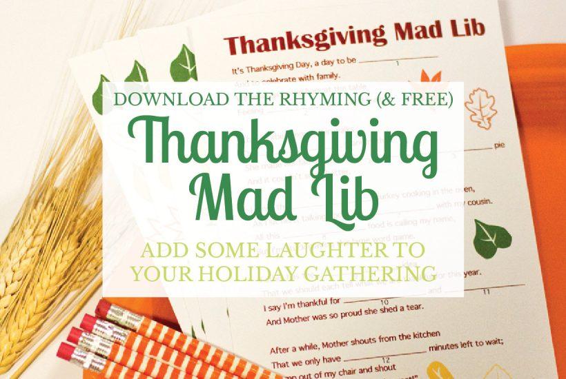 A Free Thanksgiving Mad Lib Printable