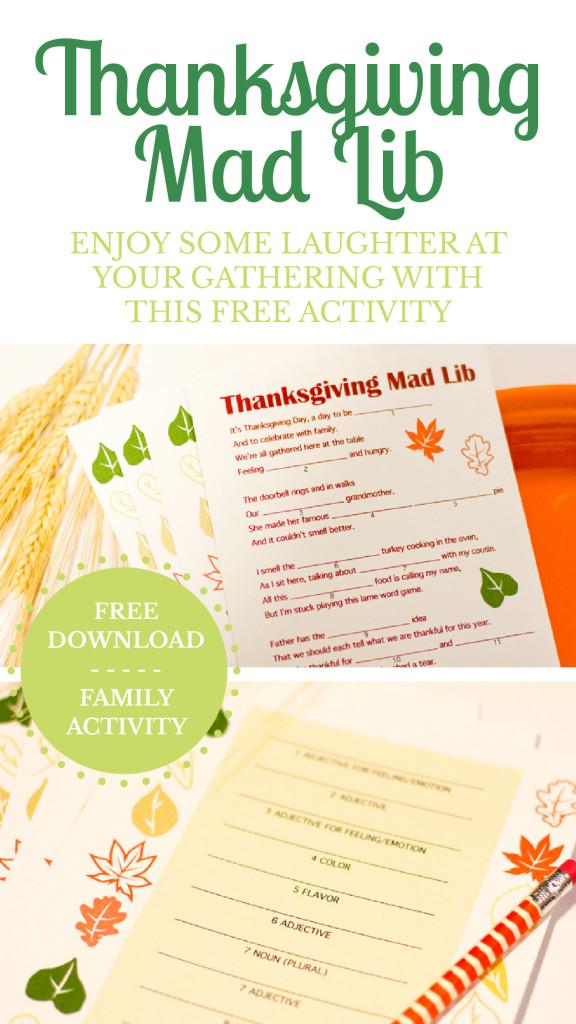 Thanksgiving Mad Lib free download