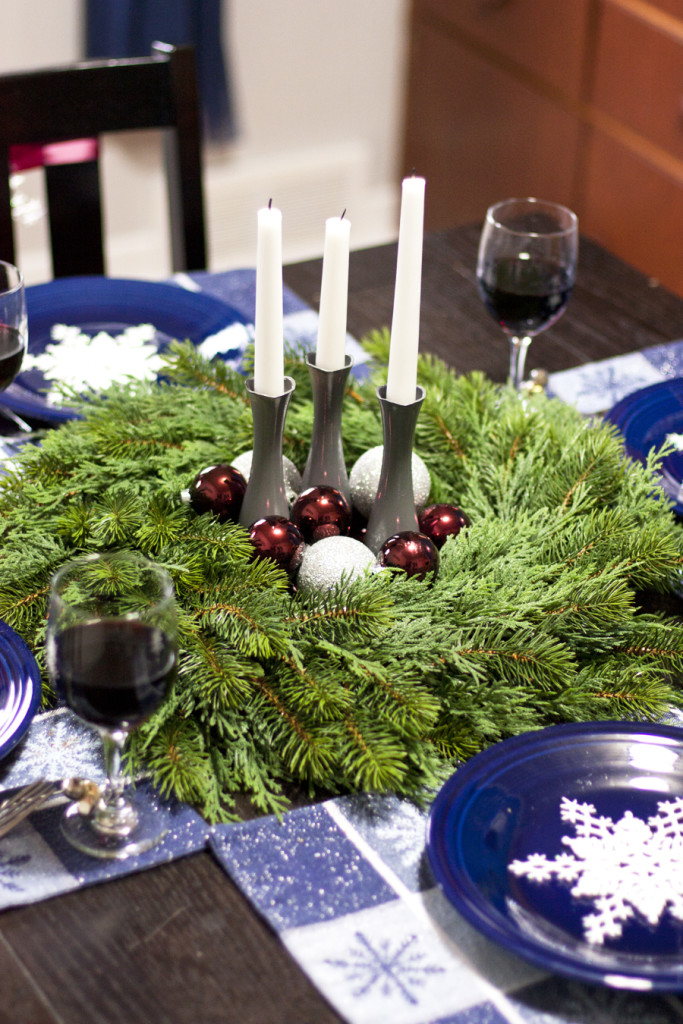 Good idea! Use a wreath for a centerpiece