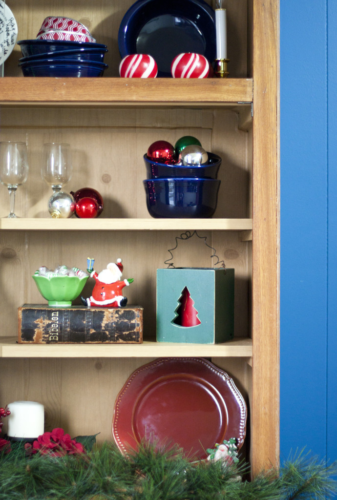 This is a cute hutch decorated for Christmas