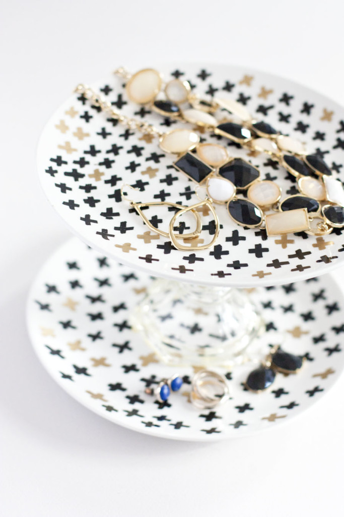 What a simple idea for a DIY jewelry holder! This tiered tray would be super simple to make.