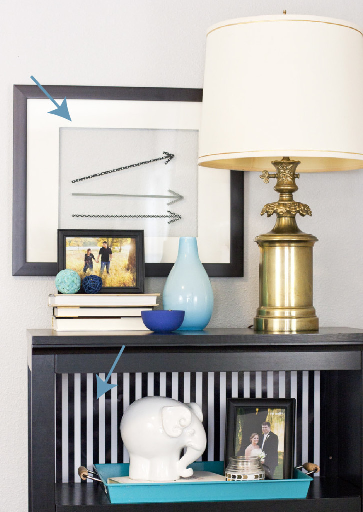 How to decorate a shelf by layering objects. Good interior styling tip!