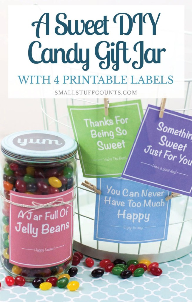 What a cute gift idea! A cheap candy jar filled with jelly beans. So