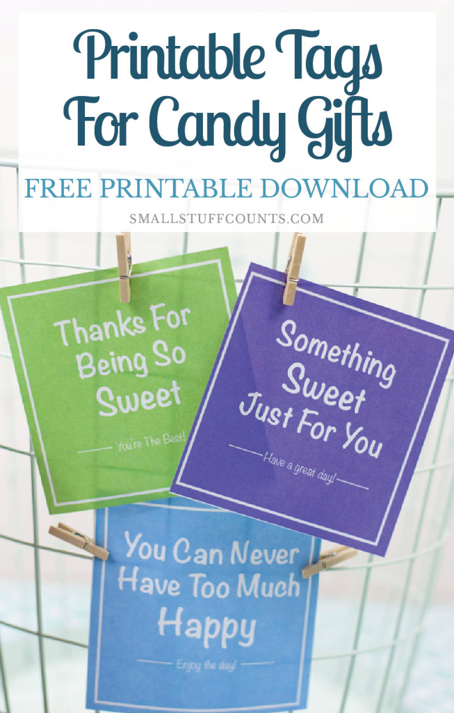 Love these printable labels to attach to little candy gift jars! Click through for free download.