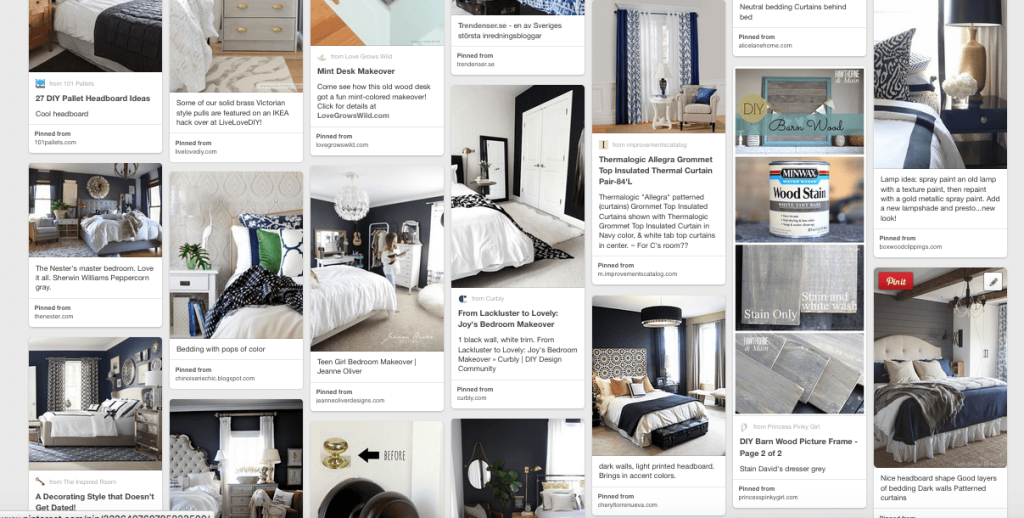 This is a Pinterest board filled with bedroom ideas.