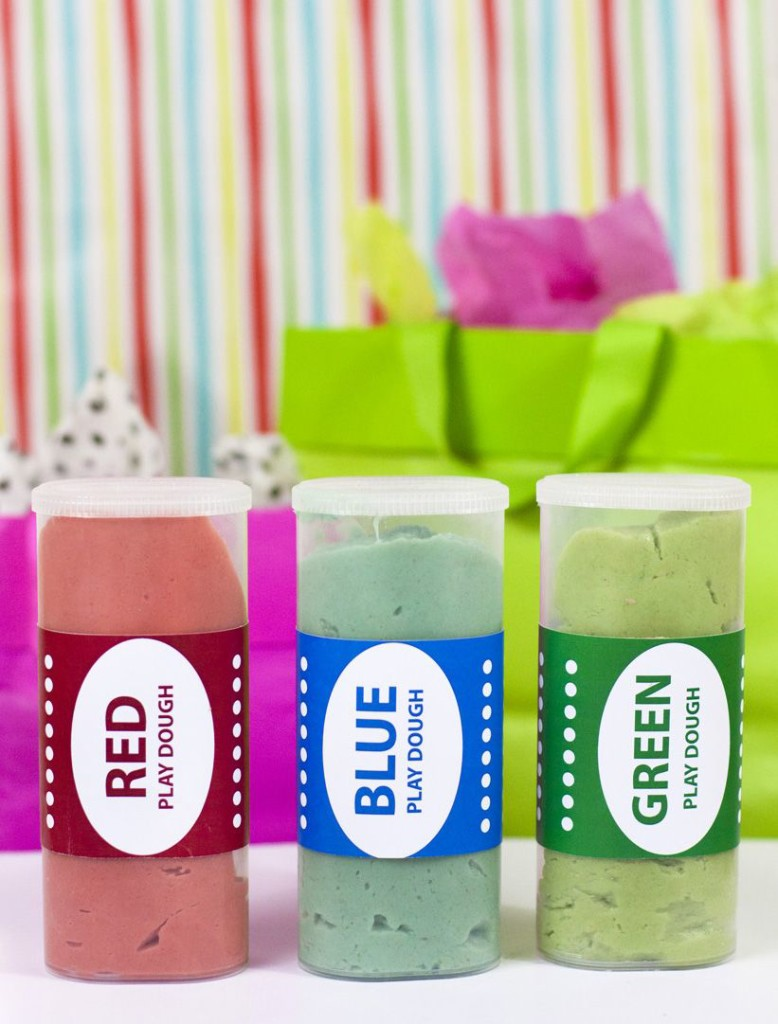 What a fun gift idea! Colorful homemade playdough with a fun label. Check out the free labels in this blog post.