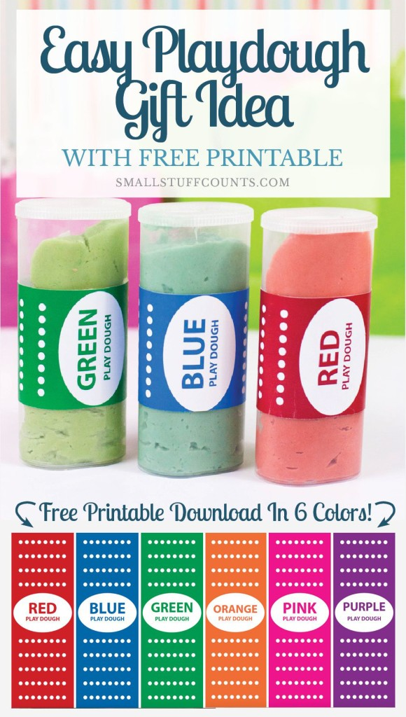 What a super cute gift idea! Easy playdough gift with free label printables. Pinning this recipe for later!