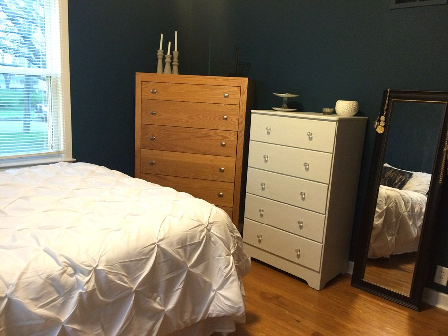 This navy bedroom makeover plan looks amazing! Can't wait to see her finished room in the One Room Challenge.