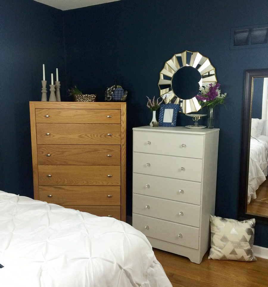 What a beautiful navy bedroom makeover! I love the white and blue decor, especially that pin tucked bedding. Great One Room Challenge makeover.