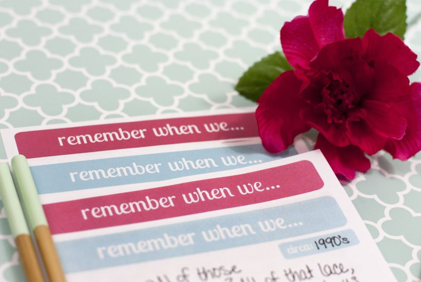 """These """"remember when we"""" note cards are so fun for jotting down quick memories. Download this free printable stationery and mail a quick note to friends and family the next time you remember a fond memory of them."""