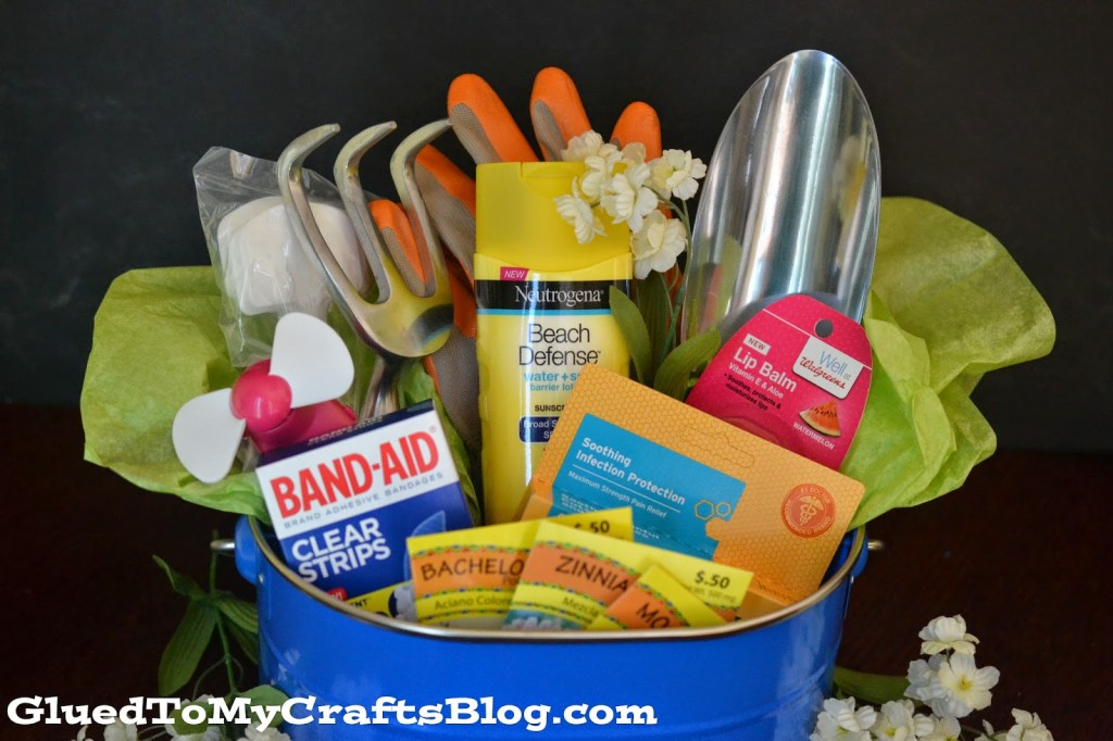 Image of gardening gift basket idea for Mom