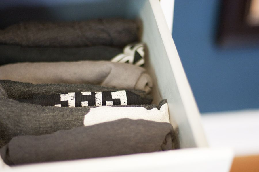 Here's a good picture that shows how to fold and organize clothing following the KonMari Method.