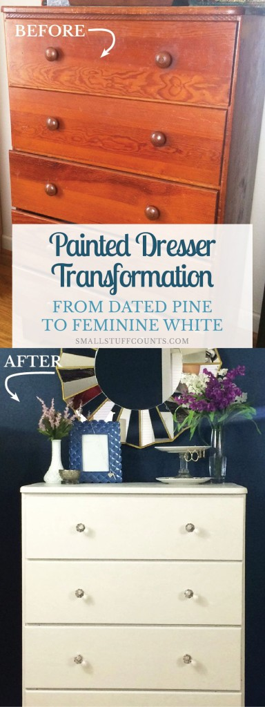 This chalk painted dresser is such a gorgeous transformation from the old pine stain. What a super simple dresser makeover with tutorial!