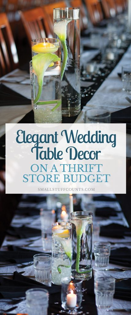 This is a huge list of wedding table decor to shop for at the thrift store. Nothing beats wedding decor on a budget!