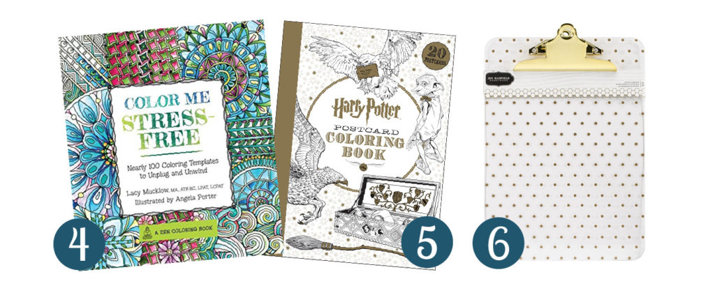 Collage of 3 images showing gift ideas for adult coloring lovers