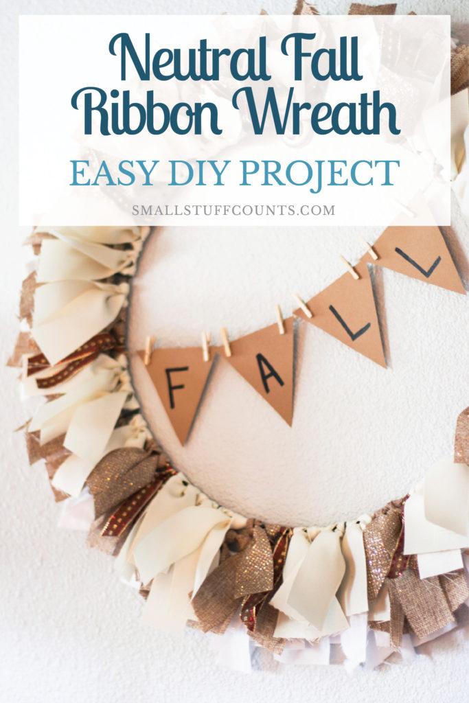 A Neutral Diy Fall Ribbon Wreath