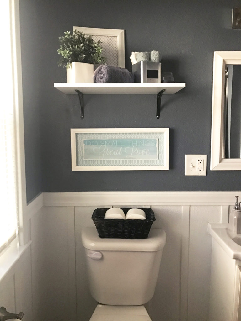 Check out this neutral gray bathroom with white board and batten. Love this One Room Challenge room makeover!