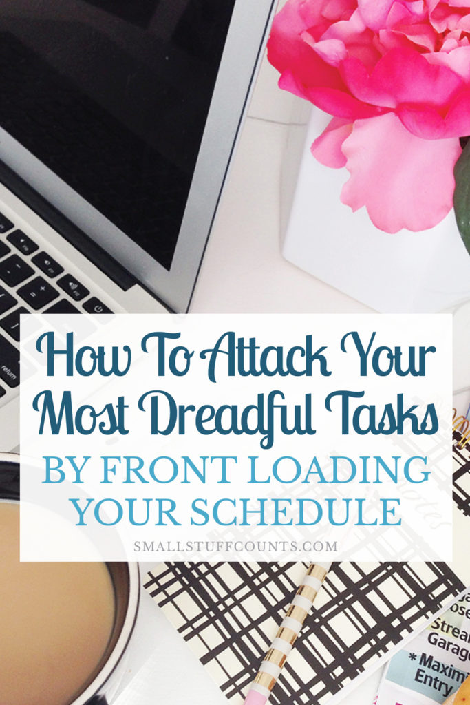 I needed this productivity tip! Dreading a task on your to-do list? Learn how to stop procrastinating and finally finish it by front loading your schedule. This is awesome time management advice!
