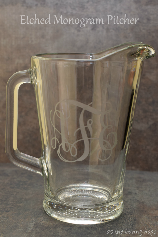 Image of DIY etched monogram pitcher using Silhouette