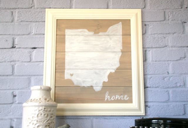 Image of DIY state home sign gift idea