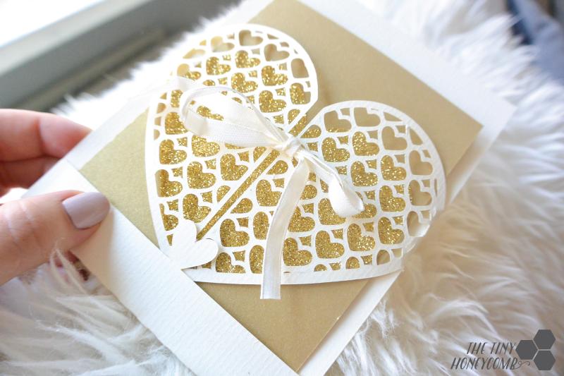Image of DIY wedding card using Silhouette cutting machine