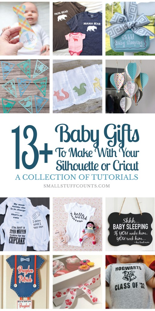 Check out these created DIY baby gifts made with a Silhouette or Cricut cutting machine. Such great ideas for personalized gifts for the babies in your life.