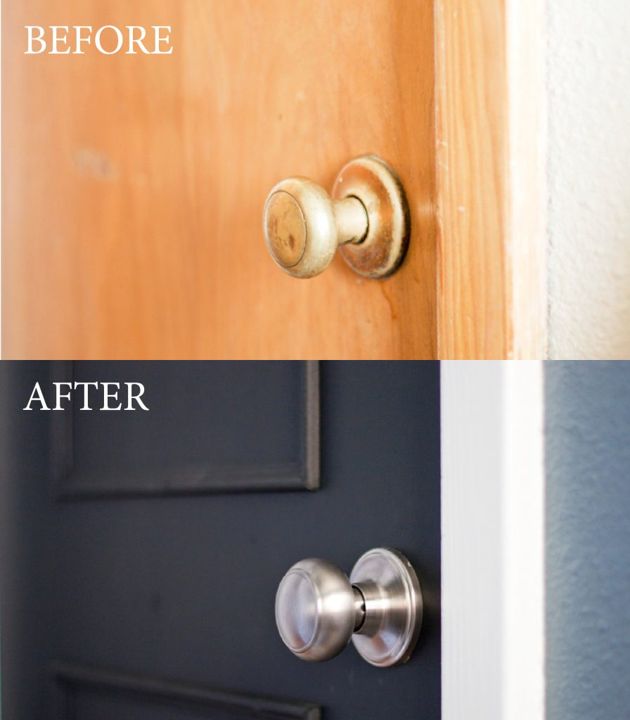 Here's a DIY door tutorial to take your interior doors to the next level. This is an easy way to update a flat door using trim and minimum tools. I love the picture frame molding she added to her door, and the transformation from an ugly pine door to a stunning black door is incredible! Love that she chose to paint it black.