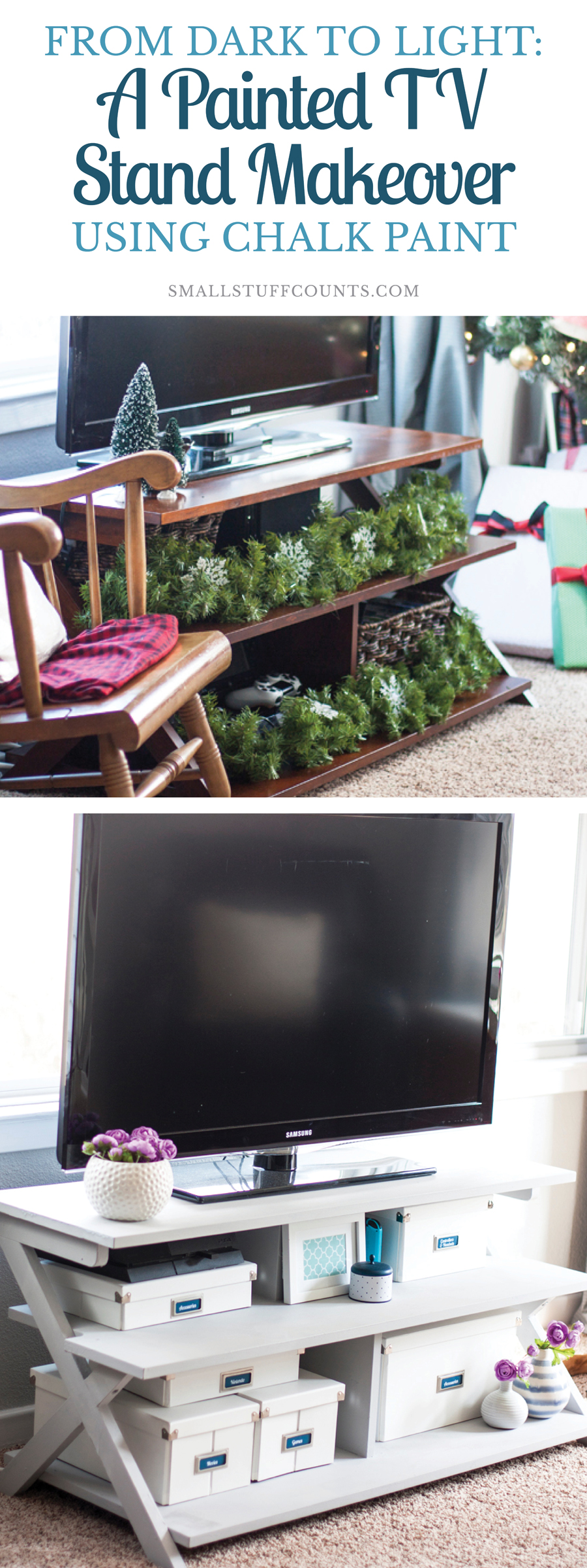 This painted TV stand makeover looks so good! Chalk paint makes it easy to refinish your existing media console or makeover a thrifted piece. This was done with the Rustoleum chalk paint. I always love a great furniture makeover!