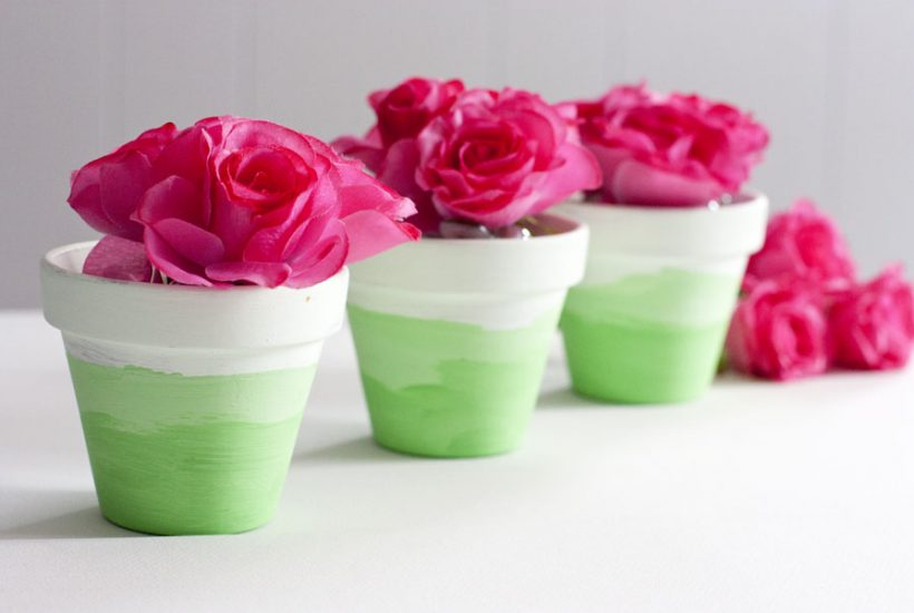 These mini ombre painted flower pots are perfect for anyone looking for DIY ideas for home decor, gifts or party favors. Easy, fast and cheap to make!