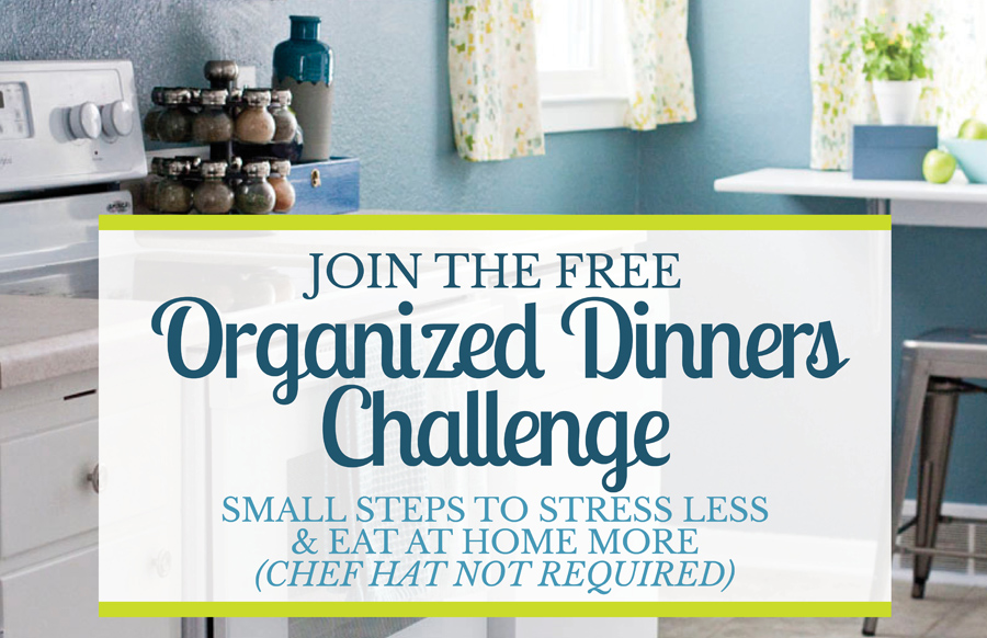 Tired of stressing about what's for dinner? Take this free challenge and get tips, resources and free printables for getting organized in the kitchen. Topics include meal planning, grocery shopping, fridge and pantry organization, freezer cooking, batch prepping and other time saving tips.