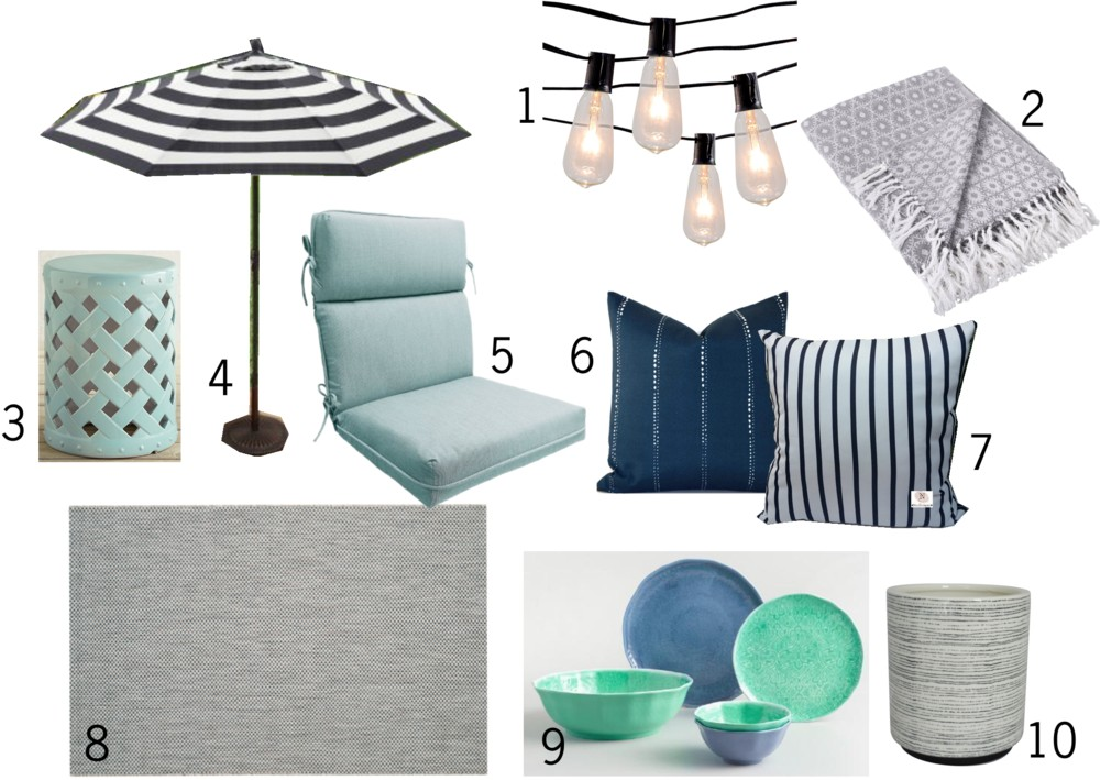 I'm loving this aqua and navy patio design! Such a pretty style for a budget friendly deck or outdoor space. Definitely saving this mood board!