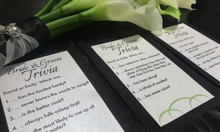Check out these bride and groom trivia cards! Love this easy DIY wedding idea. So simple to make and a great activity/conversation starter for guests. This would be a super easy thing to add to our tablescape and love how budget friendly it is to make.