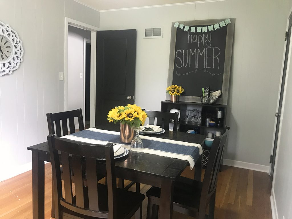 Love this simple summer tablescape  Sunflower centerpiece  simple table  setting and easy dining room. Summer In The Dining Room   A Simple Summer Tablescape   Small
