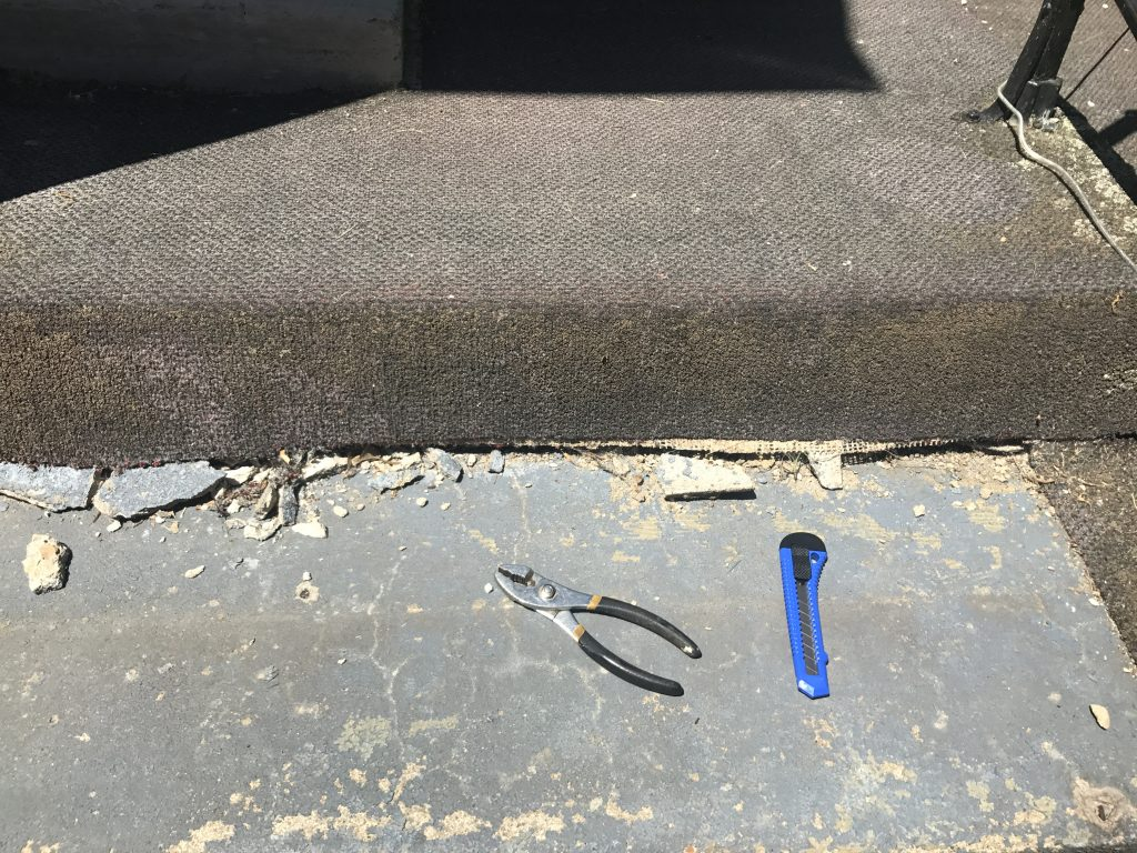 This is amazing! Great DIY tutorial for patching concrete steps using Quikrete. What a beautiful front step makeover! I love that she ripped up the carpet and repaired concrete steps.