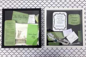 Want a way to save mementos from your wedding day? Take a look at this DIY wedding shadow box pair. This is a simple idea and looks great on the wall!