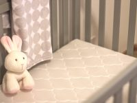 Nursery Sneak Peek ~ Gray Crib, Breathable Mattress & A Blank Slate