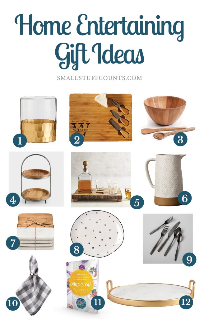 Collage of images showing 12 gift ideas for home entertaining