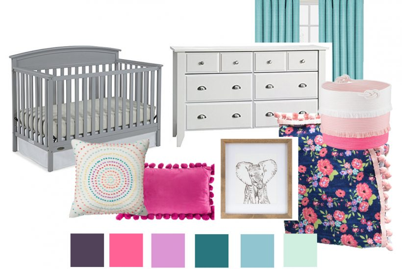 I'm in LOVE with this colorful nursery decor! Pinning this mood board for my baby girl's nursery decorating ideas. Such a cute baby room!