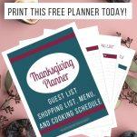 thanksgiving planning sheets