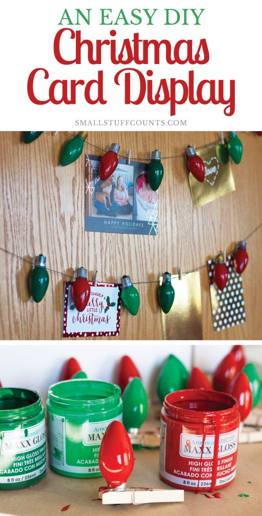 How CUTE is this Christmas card display! I'm obsessing over those adorable Christmas lights she used. #DecoArtProjects #ChristmasCards #ChristmasCardDisplay #Christmas #ChristmasDecor #DIYChristmas