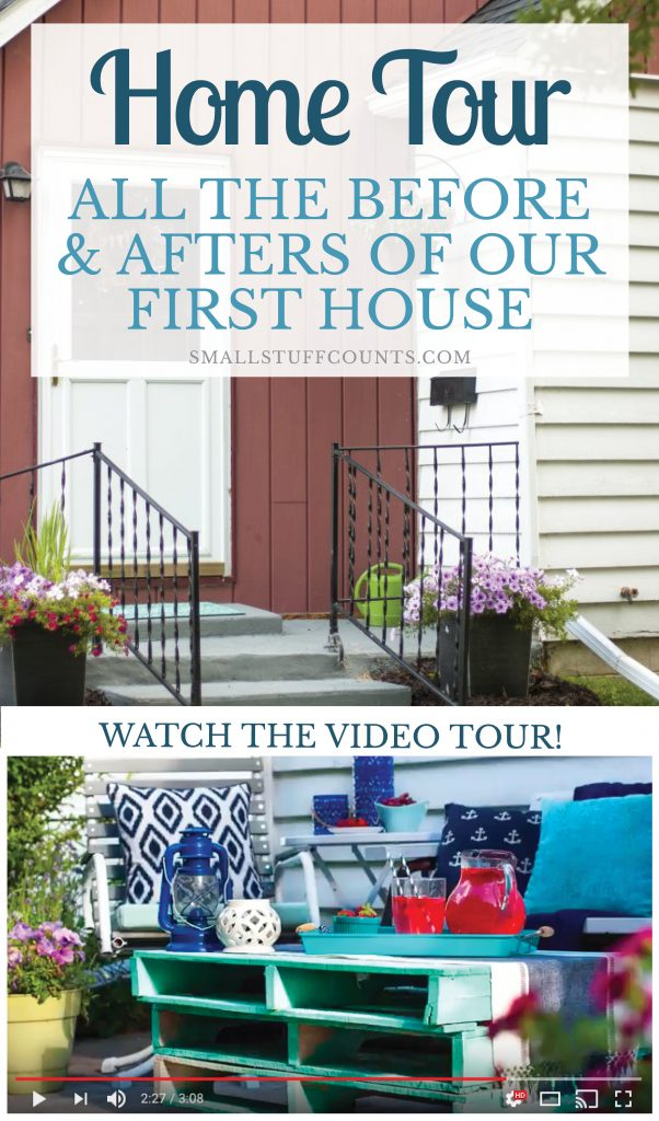 Check out the before and after pictures of this house! So many pretty decorating ideas for a small house. This blogger decorated with such pretty blues and grays. Home Tour | Before And After | Navy Bedroom | Blue Kitchen | Basement Craft Room | Painted Black Doors | Front Patio