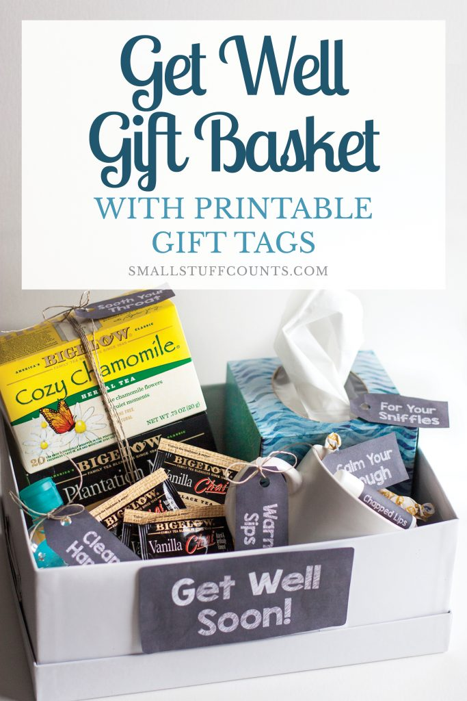 What a cute idea for a DIY get well gift basket! I love that it's made with simple little things from Walmart. The free printable gift tags make it look so cute!
